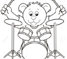 18630065-Cartoon-Bear-Playing-Drums-black-and-white-Stock-Vector-cartoon